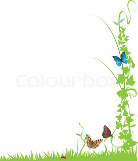 Vektor af 'efeu, sommerfugle, vinstokke'