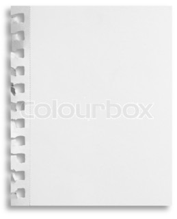 Blank white paper sheet with torn holes in left side isolated on white background