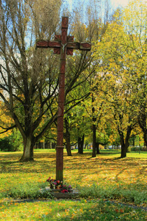 Wooden crosses in the park