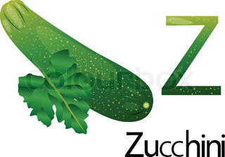 Illustrator z font with zucchini
