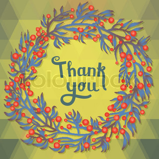 THANK YOU floral card with geometric pattern