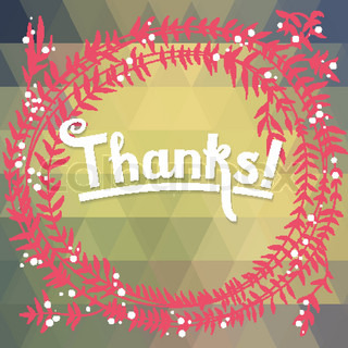 THANKS floral card with geometric pattern