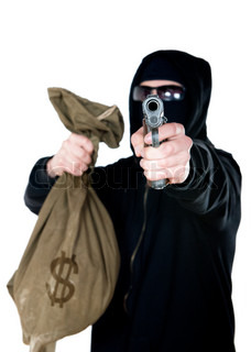 Hooded Robber With A Gun And Bag Of Money