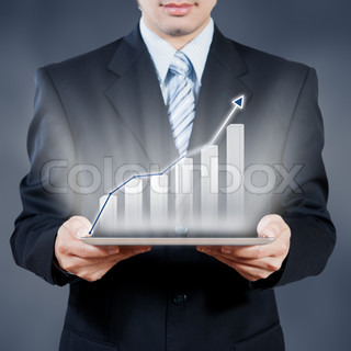 Businessman using tablet with digital visual object, business concept