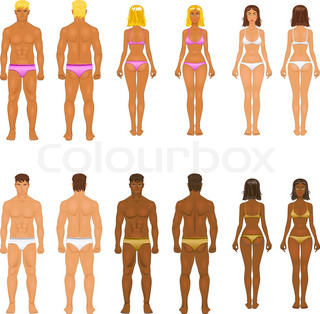 Paper dolls young girl in underwear body templates stock vector young woman and guy in underwear body templates pronofoot35fo Gallery