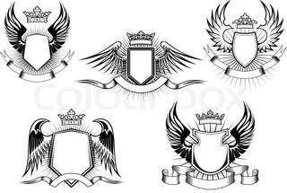 Heraldic royal coat of arms and shields