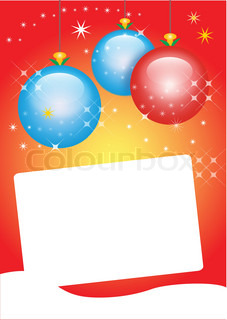 Christmas card with three glass balls and space to write - vector illustration
