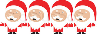 4 santa claus singing and holding hands on white background