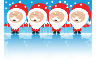 4 santa claus singing and holding hands in snow weather