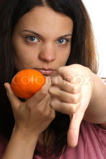 a young woman does not like this orange