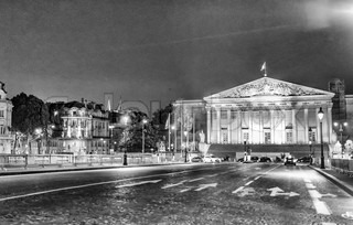 Assemblee Nationale (Palais Bourbon) - the French Parliament seen at night