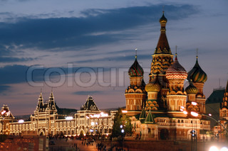 Russia, Moscow, Red Square, St. Basil's Cathedral and GUM Department Store