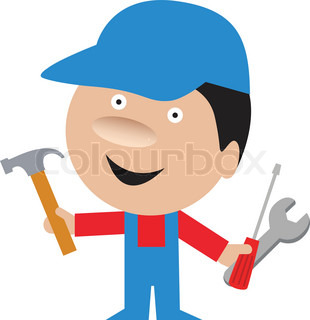 funny cartoon of handyman repairman