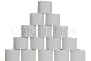 A pyramid of toilet paper against white background