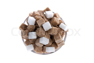 White and brown sugar. Unhealthy diet with carbohydrates