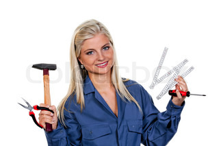 Pretty young woman with a tool mechanic