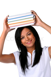 Young Woman with a stack of books. Student learning.