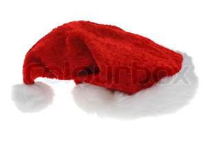 A Santa Claus hat. Isolated against a white background.