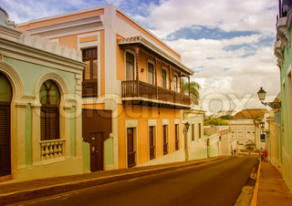 Streets of San Juan with colourful buildings, Puertorico