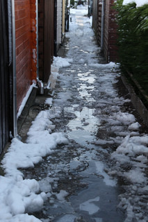 Be careful, freezing rain and snow on the footway in the early morning in wintertime.