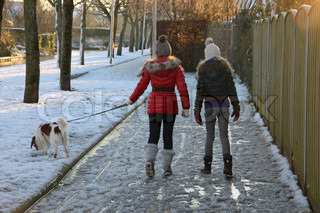 Sunrise in wintertime, the girls walk careful with the dog over the freezing rain on the footway in the residential area.