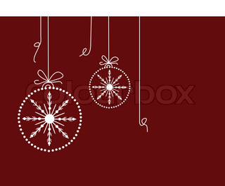 Christmas baubles on maroon background