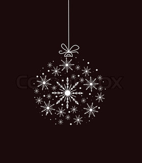 White glimmering Christmas bauble on black background