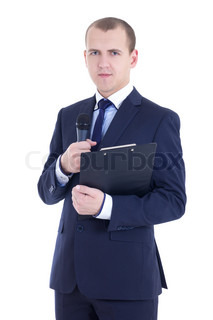 handsome man reporter in suit with microphone and clipboard isolated on white