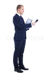 male reporter with microphone and clipboard isolated on white