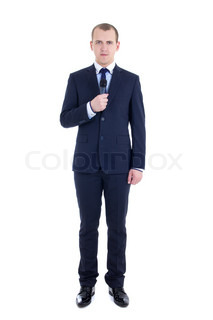 full length portrait of young male reporter with microphone isolated on white
