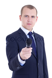 young male journalist with microphone taking interview isolated on white