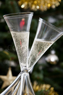 Champagne glasses for Christmas and New Year celebration