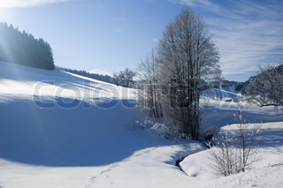 Image of 'landscape, snow, sunshine'