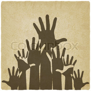 hands up symbol old background