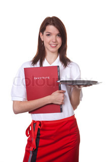 Young waitress with her application map