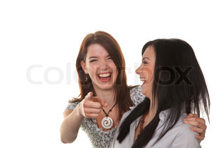 Two girls laughing about something rediculous