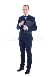 full length portrait of man reporter in suit with microphone and clipboard isolated on white