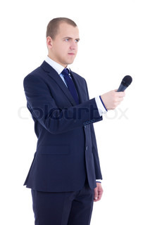 male reporter with microphone isolated on white
