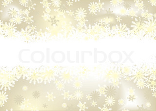golden christmas background with snow flakes and room for text