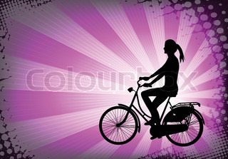 female bicyclist on the abstract purple background