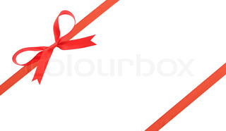 Red christmas ribbon and bow