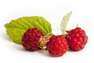 Small raspberries with a raspberry leaf isolated on white