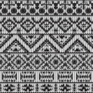 Seamless knitted black and white navajo pattern