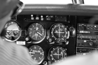 Close-up of gauges in airplane cockpit
