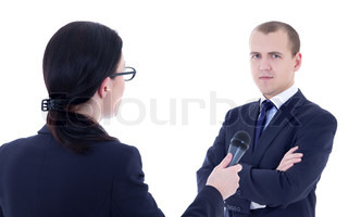 female reporter with microphone taking interview and business man isolated on white