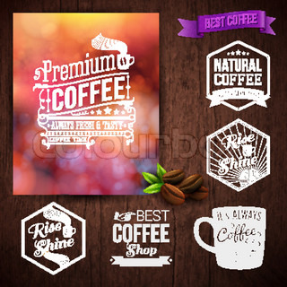Premium coffee advertising poster and coffee beans. Set of typography design labels on a wooden background.. Vector illustration.