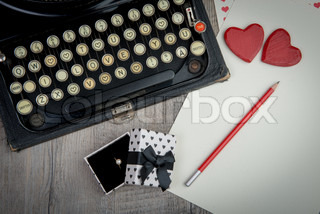 I love you with typewriter for Valentine's day