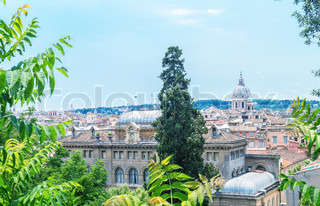 Beautiful Rome panoramic view framed by nature