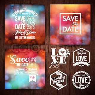 Save the date for personal holiday cards. Wedding invitation set