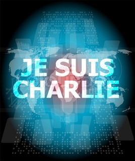 Je Suis Charlie text on business touch screen, movement against terrorism